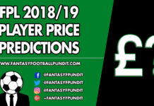 FPL 2018 19 Price Predictions