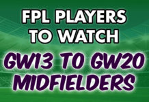 FPL Midfielders to Watch GW13 to GW20 Midfielders