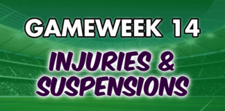 Injuries Suspensions FPL Gameweek 14