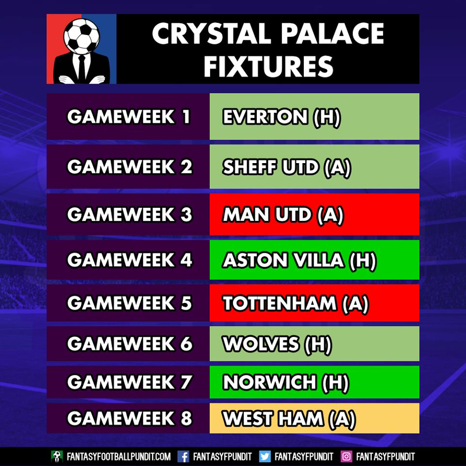 Crystal Palace Fixtures FPL